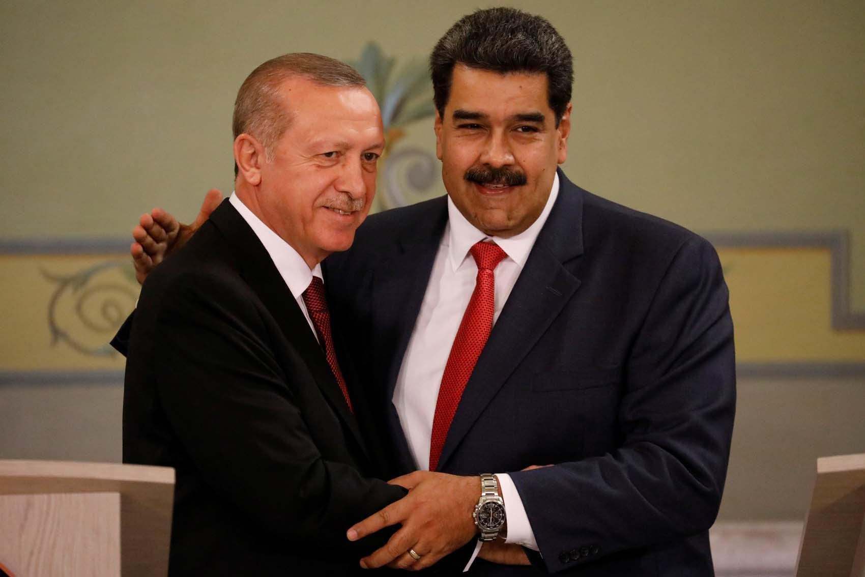 Turkish President Tayyip Erdogan and Venezuela's President Nicolas Maduro attend a news conference after an agreement-signing ceremony between Turkey and Venezuela at Miraflores Palace in Caracas, Venezuela December 3, 2018. REUTERS/Manaure Quintero