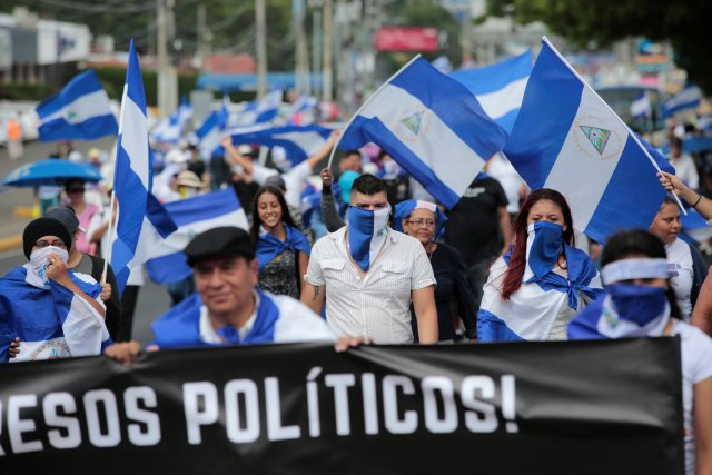 Demonstrators take part in a protest against Nicaraguan President Daniel Ortega's government in Managua, Nicaragua September 2, 2018.REUTERS/Oswaldo Rivas