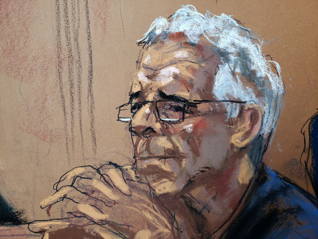 U.S. financier Jeffrey Epstein looks on during a status hearing in his sex trafficking case, in this court sketch in New York, U.S., July 31, 2019.  REUTERS/Jane Rosenberg       NO RESALES. NO ARCHIVES.