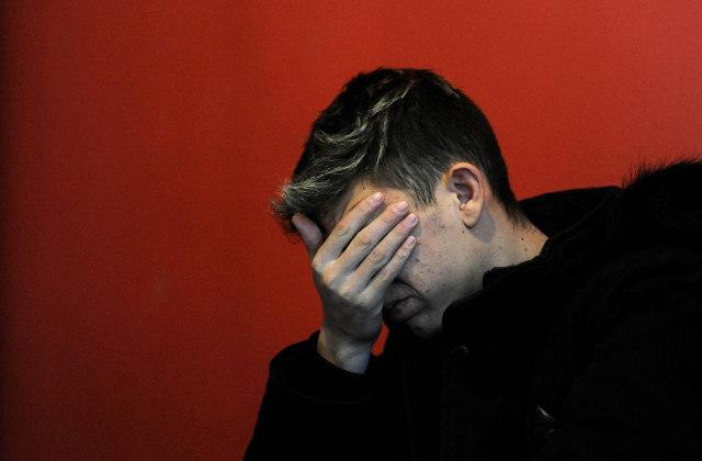 Argentinian Ezequiel Villalonga, 18, a victim of sexual abuse, gestures as he speaks during an interview with AFP at the Association for the Promotion and Protection of Human Rights headquarters, in Mendoza, Argentina on August 1, 2019. - Villalonga reported being victim of sexual abuse when he attended the Antonio Provolo Institute, dedicated to the education of deaf children in Mendoza. The trial of Italian priest Nicola Corradi and Argentinian priest Horacio Corbacho alongside former gardener Armando Gomez over the allegations of sexual abuse will start on August 5. (Photo by Andres Larrovere / AFP)