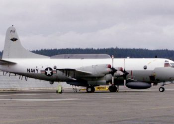 FILE PHOTO: An U.S. Navy EP-3E Aries II electronic spy turborprop airplane from VQ-1 Squadron sits on the tarmac at Ault Field at Naval Air Station Whidbey Island in Oak Harbor, Washington April 13, 2001. REUTERS/Anthony P./File Photo