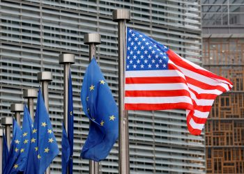 FILE PHOTO: U.S. and European Union flags are pictured during the visit of Vice President Mike Pence to the European Commission headquarters in Brussels, Belgium February 20, 2017. REUTERS/Francois Lenoir/File Photo