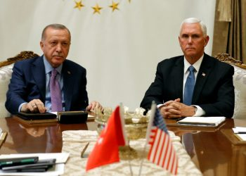 U.S. Vice President Mike Pence and Secretary meets with Turkish President Tayyip Erdogan at the Presidential Palace in Ankara, Turkey, October 17, 2019. REUTERS/Huseyin Aldemir