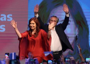 Alberto Fernandez and his running mate and former President Cristina Fernandez de Kirchner greet supporters in Buenos Aires, Argentina October 27, 2019. REUTERS/Agustin Marcarian