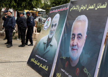 Pictures of Iranian Major-General Qassem Soleimani are seen during a protest against the killing of Soleimani, in Gaza January 4, 2020. REUTERS/Mohammed Salem