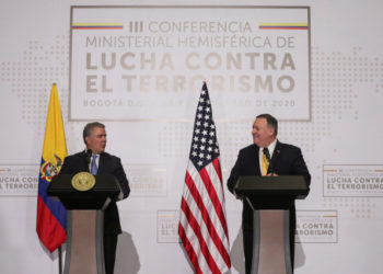 U.S. Secretary of State Mike Pompeo and Colombia's President Ivan Duque look on as they attend the III Hemispheric Anti-Terrorism Ministerial Conference at the Francisco de Paula Santander General Police Cadet School, in Bogota, Colombia January 20, 2020. REUTERS/Luisa Gonzalez