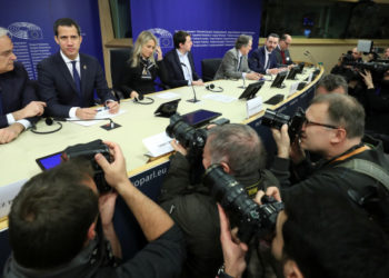 Venezuelan opposition leader Juan Guaido holds a news conference at the European Parliament in Brussels, Belgium January 22, 2020.  REUTERS/Yves Herman