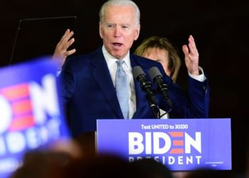 Democratic presidential hopeful former Vice President Joe Biden addresses a Super Tuesday event in Los Angeles on March 3, 2020. (Photo by FREDERIC J. BROWN / AFP) (Photo by FREDERIC J. BROWN/AFP via Getty Images)