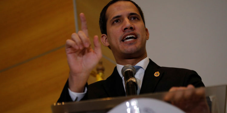 Venezuelan opposition leader Juan Guaido, who many nations have recognised as the country's rightful interim ruler, speaks during a news conference in Caracas, Venezuela February 15, 2020. REUTERS/Leonardo Fernandez Viloria NO RESALES. NO ARCHIVE.