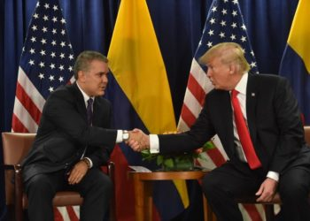 President Iván Duque(L) of Colombia meets with US President Donald Trump at the United Nations in New York September 25, 2018. (Photo by Nicholas Kamm / AFP)