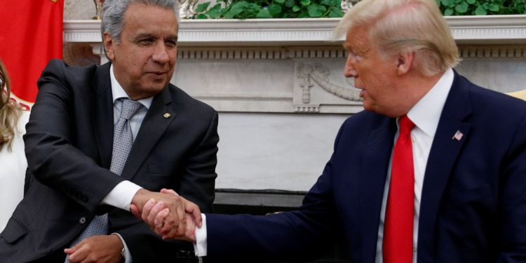 U.S. President Donald Trump greets Ecuador's President Lenin Moreno in the Oval Office of the White House in Washington, U.S., February 12, 2020. REUTERS/Tom Brenner