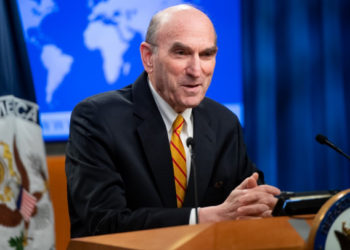 US Special Representative for Venezuela Elliott Abrams holds a press briefing at the US State Department in Washington, DC, December 20, 2019. (Photo by SAUL LOEB / AFP)