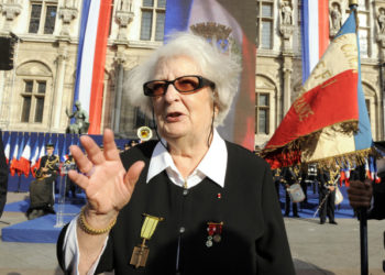 (FILES) In this file photo taken on August 25, 2009, former member of the French Resistance and widow of former resistance fighter Henri Rol-Tanguy, Cecile Rol-Tanguy attends a ceremony marking the 65th anniversary of Paris' liberation from Nazi occupation in front of Paris City Hall. - Cecile Rol-Tanguy, former member of the French Resistance, died at the age of 101-years-old on May 8, 2020, on the75th anniversary of the end of World War II in Europe, in a statement released by the family. (Photo by Bertrand GUAY / AFP)