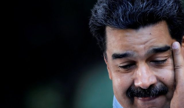 Venezuela's President Nicolas Maduro pauses as he speaks during a gathering in support of his government in Caracas, Venezuela February 7, 2019. REUTERS/Carlos Barria