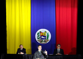 Venezuelan National Assembly President and opposition leader Juan Guaido, who many nations have recognised as the country's rightful interim ruler, takes part in a session of Venezuela's National Assembly in San Antonio, Venezuela February 18, 2020. REUTERS/Manaure Quintero