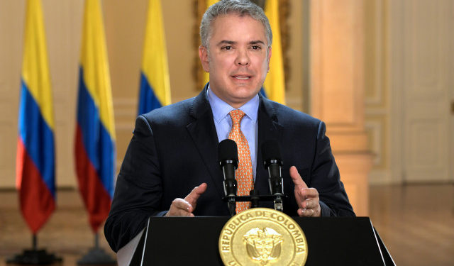 Colombia's President Ivan Duque addresses the nation in a televised speech, in which he declared a state of emergency, as preventive measure against the spread of the coronavirus disease (COVID-19), in Bogota, Colombia March 17, 2020. Picture taken March 17, 2020. Courtesy of Colombian Presidency/Handout via REUTERS ATTENTION EDITORS - THIS IMAGE WAS PROVIDED BY A THIRD PARTY