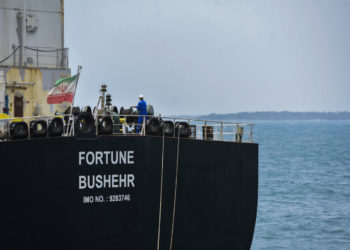 The Iranian-flagged oil tanker Fortune is docked at the El Palito refinery after its arrival to Puerto Cabello in the northern state of Carabobo, Venezuela, on May 25, 2020. - The first of five Iranian tankers carrying much-needed gasoline and oil derivatives docked in Venezuela on Monday, Caracas announced amid concern in Washington over the burgeoning relationship between countries it sees as international pariahs. (Photo by - / AFP)