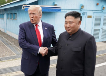 U.S. President Donald Trump meets with North Korean leader Kim Jong Un at the demilitarized zone separating the two Koreas, in Panmunjom, South Korea, June 30, 2019. REUTERS/Kevin Lamarque