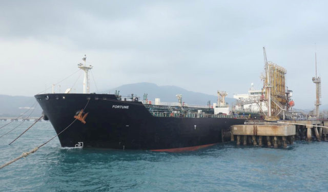 """FILE PHOTO: The Iranian tanker ship """"Fortune"""" is seen at El Palito refinery dock in Puerto Cabello, Venezuela May 25, 2020. Miraflores Palace/Handout via REUTERS ATTENTION EDITORS - THIS PICTURE WAS PROVIDED BY A THIRD PARTY./File Photo"""