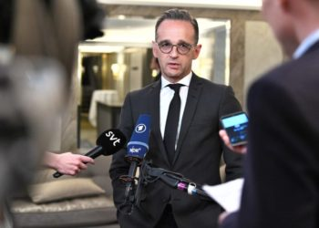 German Foreign Minister Heiko Maas talks to the press after a meeting on Nuclear Disarmament and the Nuclear Non-Proliferation Treaty on June 11, 2019 at the Grand Hotel in Stockkolm. (Photo by Claudio BRESCIANI / TT NEWS AGENCY / AFP) / Sweden OUT