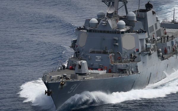 200426-N-ZM949-1478 PACIFIC OCEAN (April 26, 2020) The Arleigh Burke-class guided-missile destroyer USS Pinckney (DDG 91) transits the Pacific Ocean during a Division Tactics exercise with U.S. Coast Guard Cutter Northland April 26, 2020. Northland and Pinckney are deployed to the U.S. Southern Command area of responsibility to support Joint Interagency Task Force South's mission, which includes counter illicit drug trafficking in the Caribbean and Eastern Pacific. (U.S. Navy photo by Mass Communication Specialist 3rd Class Erick A. Parsons)