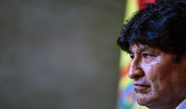 Bolivia's former President Evo Morales is seen during a press conference with the Bolivian presidential candidate for the Movement for Socialism (MAS) party, Luis Arce (out frame), in Buenos Aires, on January 27, 2020. (Photo by RONALDO SCHEMIDT / AFP)