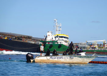 A general view shows the rescue mission at the bulk carrier ship MV Wakashio, belonging to a Japanese company but Panamanian-flagged, ran aground on a reef, at the Riviere des Creoles, Mauritius August 12, 2020. REUTERS/Reuben Pillay  NO RESALES. NO ARCHIVES