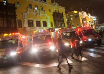 A general view of ambulances in Lima, Peru, 13 October 2016. EFE/FILE/Ernesto Arias