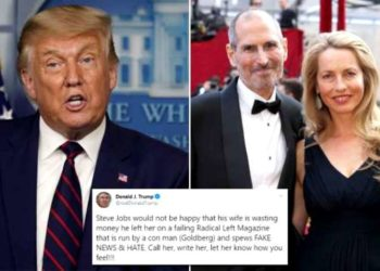 Laurene Powell Jobs. Donald Trump. Foto collage.