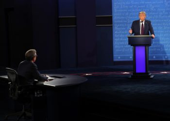 CLEVELAND, OHIO - SEPTEMBER 29:  U.S. President Donald Trump participates in the first presidential debate against Democratic presidential nominee Joe Biden,  moderated by Fox News anchor Chris Wallace (L) at the Health Education Campus of Case Western Reserve University on September 29, 2020 in Cleveland, Ohio. This is the first of three planned debates between the two candidates in the lead up to the election on November 3.  (Photo by Win McNamee/Getty Images)