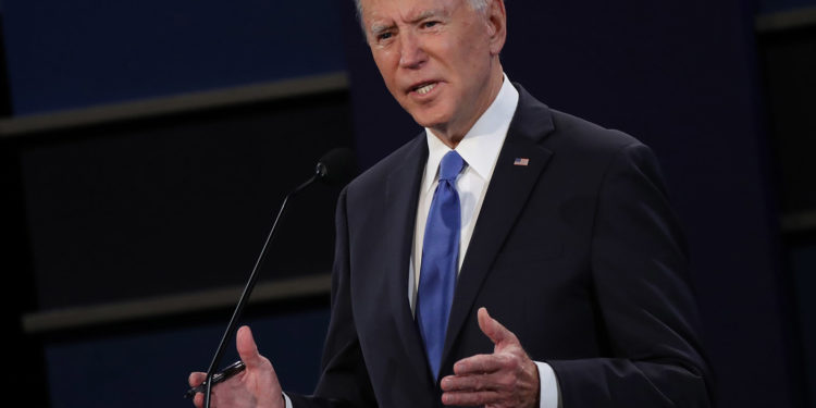 NASHVILLE, TENNESSEE - OCTOBER 22:  Democratic presidential nominee Joe Biden participates in the final presidential debate against U.S. President Donald Trump at Belmont University on October 22, 2020 in Nashville, Tennessee. This is the last debate between the two candidates before the election on November 3. (Photo by Chip Somodevilla/Getty Images)