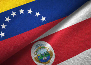 Venezuela and Costa Rica flags together relations textile cloth, fabric texture
