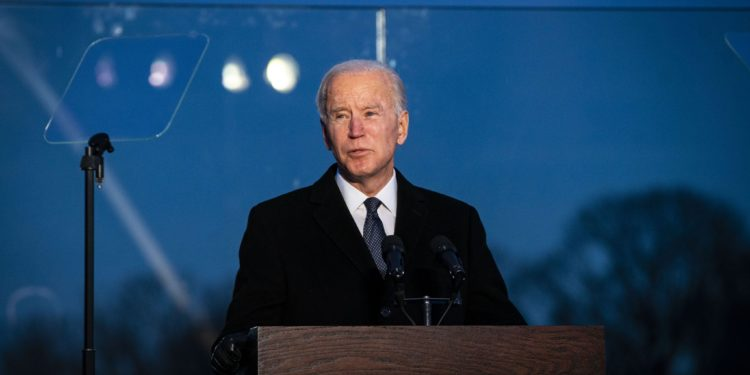 U.S. President-elect Joe Biden speaks at the Lincoln Memorial Reflecting Pool during a Covid-19 memorial to lives lost on the National Mall in Washington, D.C., U.S., on Tuesday, Jan. 19, 2021. Biden arrived in Washington on the eve of his inauguration with the usual backdrop of celebrations and political comity replaced by a military lockdown. Photographer: Al Drago/Bloomberg via Getty Images