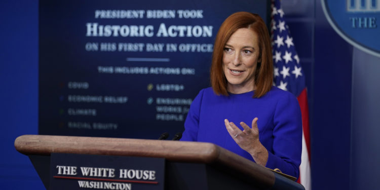 White House press secretary Jen Psaki speaks during her first press briefing at the White House, Wednesday, Jan. 20, 2021, in Washington.(AP Photo/Evan Vucci)