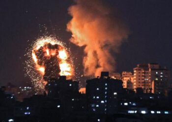 A picture shows Israeli air strikes in the Gaza Strip, controlled by the Palestinian Islamist movement Hamas, on May 10, 2021. - Israel launched deadly air strikes on Gaza in response to a barrage of rockets fired by the Islamist movement Hamas amid spiralling violence sparked by unrest at Jerusalem's Al-Aqsa Mosque compound. (Photo by MAHMUD HAMS / AFP) (Photo by MAHMUD HAMS/AFP via Getty Images)