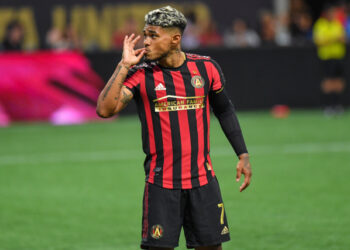 Aug 3, 2019; Atlanta, GA, USA; Atlanta United forward Josef Martinez (7) reacts after scoring a goal on a penalty kick against Los Angeles Galaxy during the second half at Mercedes-Benz Stadium. Mandatory Credit: Dale Zanine-USA TODAY Sports