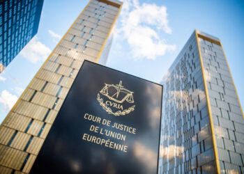 """15 June 2019, Luxembourg, Luxemburg: The picture shows a sign in front of the office towers of the European Court of Justice with the inscription """"Cour de Justice de l'union Européene"""" in the Europaviertel on the Kirchberg. Photo: Arne Immanuel Bänsch/dpa (Photo by Arne Immanuel Bänsch/picture alliance via Getty Images)"""