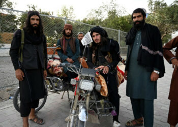 Taliban fighters stand along a road in Kabul on August 18, 2021, after the Taliban's military takeover of Afghanistan. (Photo by Wakil KOHSAR / AFP)